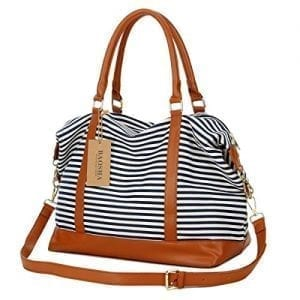 Navy and white stripe tote overnight bag