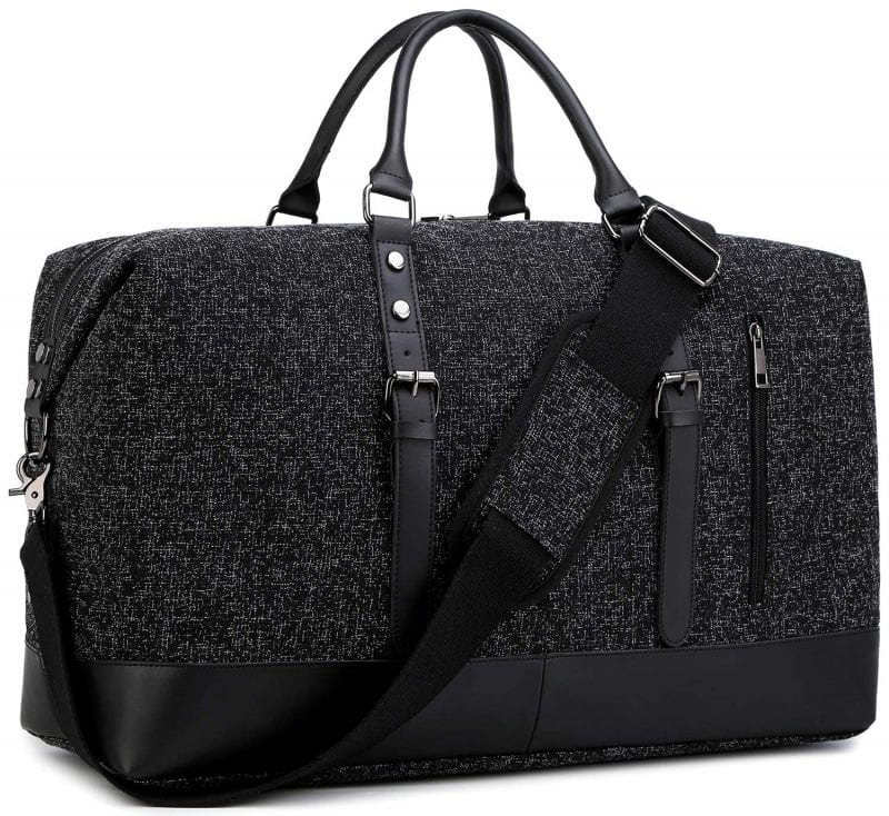 Black holdall overnight bag with shoulder strap and two handles