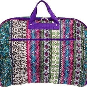 Boho print women's overnight garment bag with purple handles